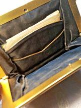 Vintage Black w/ Gold Square Design Evening Clutch Purse W/ Original Mirror image 8