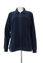 Denim& Co Comfy Knit Denim Zip-Front Jean Jacket Drk Indigo Wash M NEW A... - $32.65
