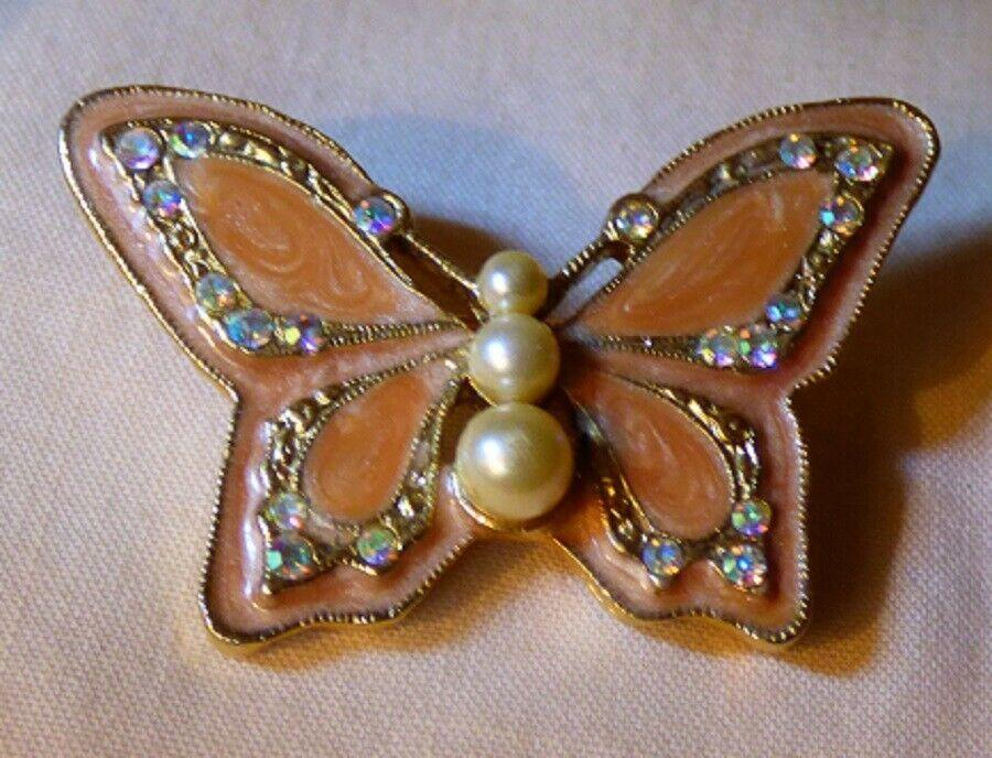 Vintage 1970s Enamel Peach BUTTERFLY Pin 1928 Jewelry Co Rhinestones Faux Pearls - $20.00