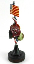 American Hero Figurine Flag Police Military Fire Hard Hat First Responder - $13.24