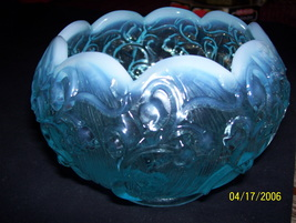 Fenton aqua/blue frosted scallops iridescent Lily of the Valley rose bowl - $45.00