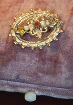 ANTIQUE VICTORIAN PIN VERMEIL ? GARNET SEED PEARL OVAL BEADED 1800'S 1 1... - $29.99