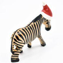 Hand Carved & Painted Jacaranda Wood Santa Hat Zebra  Safari Christmas Figurine image 4