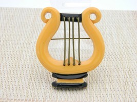 Bakelite Tested Large Butterscotch Yellow Lyre Harp Music Brooch Pin - $198.00