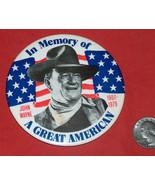 "1979 VTG RARE 1907-79 Memory Of John Wayne 3.5"" Button Pin N.G. Slater C... - $128.68"