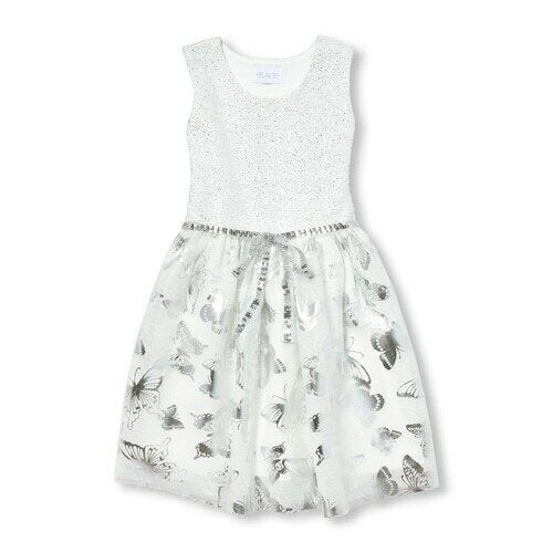 Primary image for NWT The Childrens Place Girls Sleeveless Silver Metallic Foil Butterfly Dress