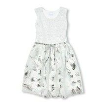 NWT The Childrens Place Girls Sleeveless Silver Metallic Foil Butterfly ... - $12.99