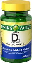 Spring Valley Vitamin D3 Softgels, 2000 IU, 200 Count - $9.31