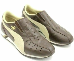 Puma Youth Slip On Sneakers Sprint Size US 5.5 Brown Leather - $18.00