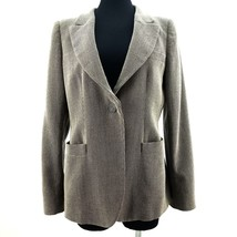 Armani Collezioni Wool Tweed Padded Shoulder Blazer Italy Authentic Wome... - $64.42