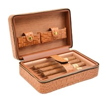 Top Quality crocodile Leather Travel Humidor Cigar Case Cedar Wood With ... - €46,06 EUR
