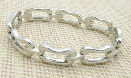 Abstract Rectangle Chain Link Openwork Bracelet Vintage Silver Tone - $19.80