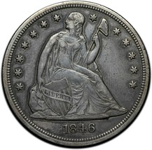 1846 Seated Dollar $1 Silver Coin Lot 519-2