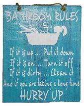 "Handmade Wood ""Bathroom Rules"" Funny Sign Plaque Wall Art Decor Potty Bath Tub T - $9.84"
