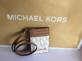 NWT MICHAEL KORS JET SET TRAVEL PVC LANYARD ID CARD CASE VANILLA LUGGAGE - $47.50