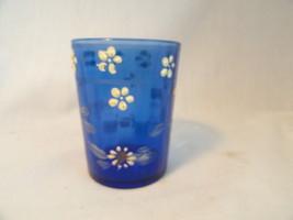 Victorian Cobalt Blue Handpainted Tumbler - $7.49