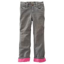 OshKosh B'Gosh Denim Stretch Pants pink Fleece Skinny size 4 Adjust waist NWT - $16.14