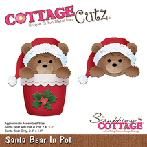 Santa Bear in Pot. Cottage Cutz Die CLEARANCE