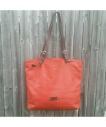 Valentina Made in Italy Pebbled Leather Brown Orange Tote Handbag Bag - $50.00