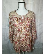 Style & Co Womens Blouse Boho Peasant Floral Pink Brown Bell Long Sleeve - $23.06