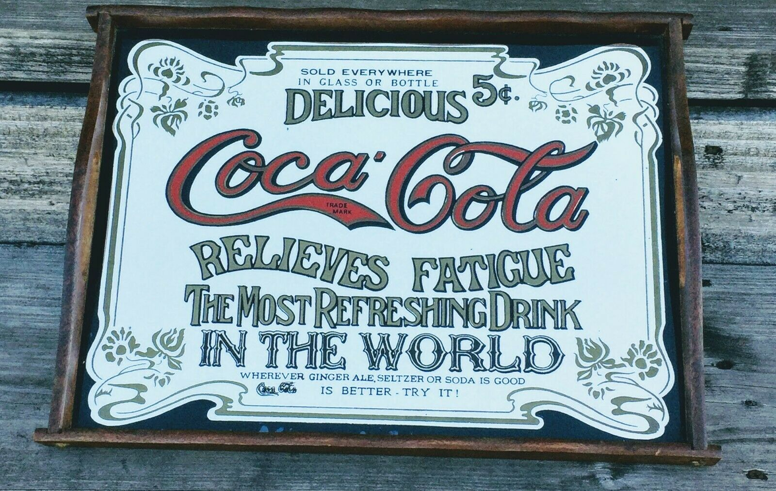 "Primary image for Vintage 1970's Coca-Cola Wood Mirror Tray ""Relieves Fatigue"" 16"" X 12"""