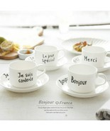 LOULONG® 4Pc/Set White Ceramic Coffee Cup Saucer Set French Style Letter... - $86.99