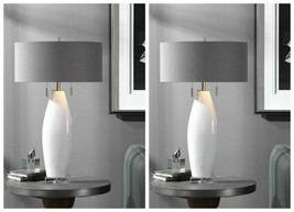 "TWO MODERN CERAMIC XXL 30"" ACCENT TABLE LAMP BRUSHED NICKEL METAL UTTERMOST - $629.20"
