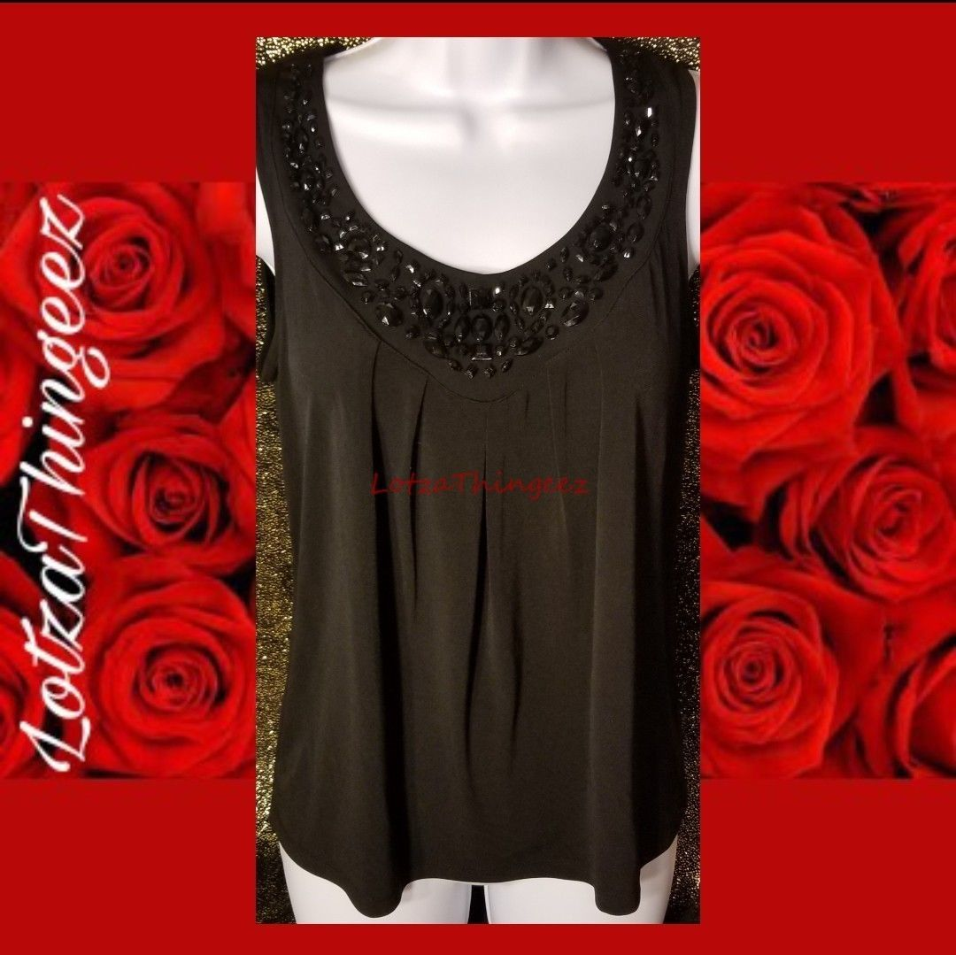 212 Collection XS Black Bling Beads Neckline Tank Top Stretch Blouse