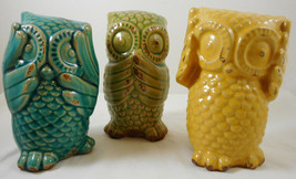 "Hear See Speak No Evil Owls by Earthbound Ceramic 6"" Figurines - $44.55"