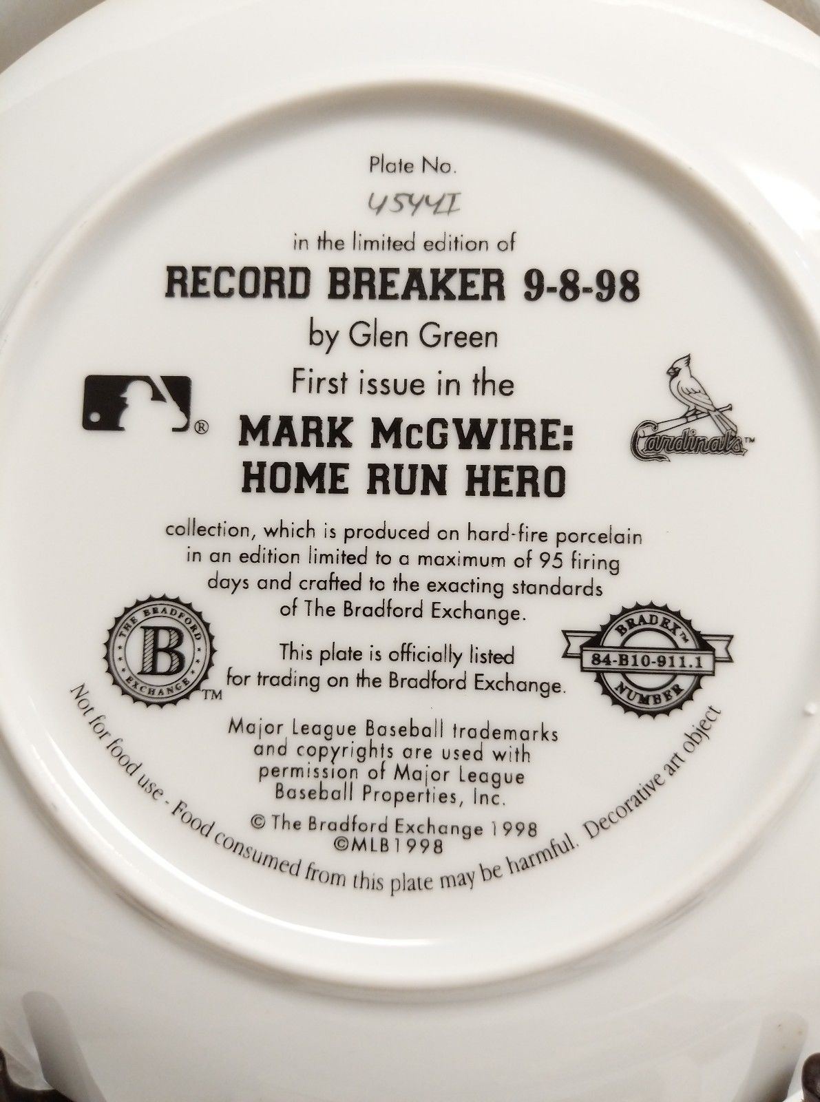 MARK MC GUIRE COLLECTOR PLATE BRADFORD EXCHANGE CERTIFIED NUMBERED