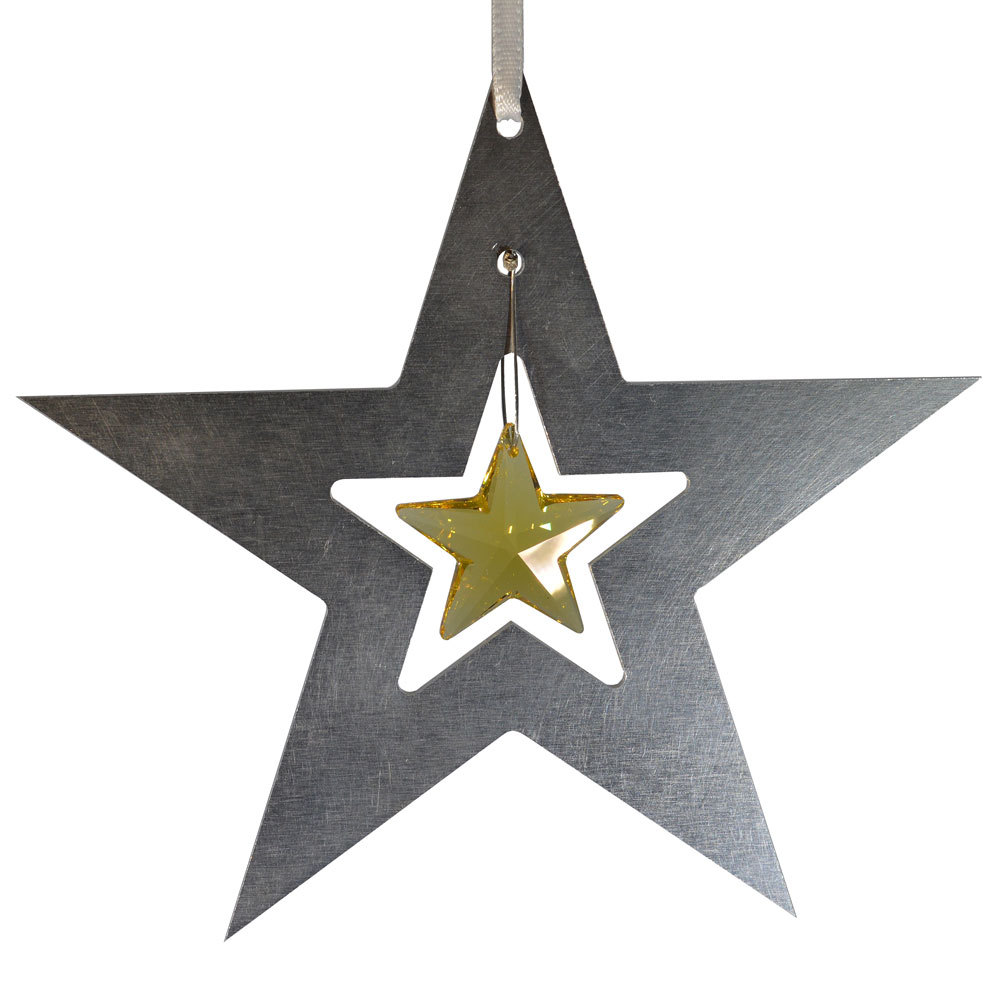 Aluminum and Crystal Star Ornament