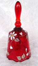 Fenton White Daisies on Ruby Bell Hand Painted/Signed Floral Bell M. OLMSTEAD - $39.50
