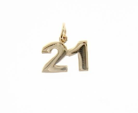 18K YELLOW GOLD NUMBER 21 TWENTY ONE PENDANT CHARM .7 INCHES 17 MM MADE IN ITALY