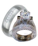 His and Hers Wedding Rings 3 Pc Ring Set 925 St... - $79.99