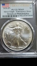 2020 (P) Silver Eagle PCGS MS 69 FS Emergency Issue White Spots Flag Coin 8100 image 2