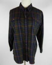 Chaps Womens Blouse XL Green Blue Red Multi 3/4 Plaid Button Front 100% Cotton - $21.37
