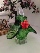 Vintage Murano Green And Red Orange Flower Art Glass Basket - $75.00
