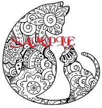 Cat and Kitten Tribal PDF Cross Stitch Chart - $10.00
