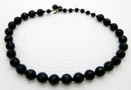 VTG M.I. WESTERN GERMANY Black Faceted Glass Beaded Necklace Choker - $49.50