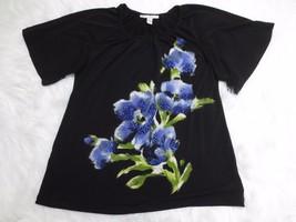 JM COLLECTION Womens Shirt 2 Black Blue Floral Short Sleeve Scoop Neck C... - $6.92