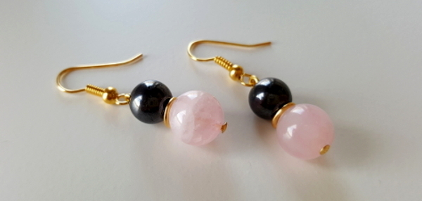 Rose Quartz & Hematite Gems, Gold Plate Drop Earrings
