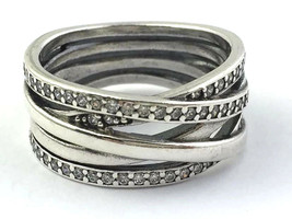 Authentic Pandora Entwined Sterling Silver & CZ Ring, 190919-56, Size 7,... - $110.19