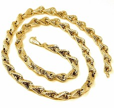 18K YELLOW GOLD NECKLACE CHAIN ROUNDED DIAMOND CUT INFINITY ALTERNATE DROP 7mm image 1