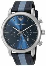 Emporio Armani Men's AR1949 Dress Chronograph Blue Nylon Watch - $112.23