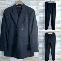 Brooks Brothers Double Breasted Suit Striped Gray Wool VTG Men Size 42L ... - $173.24