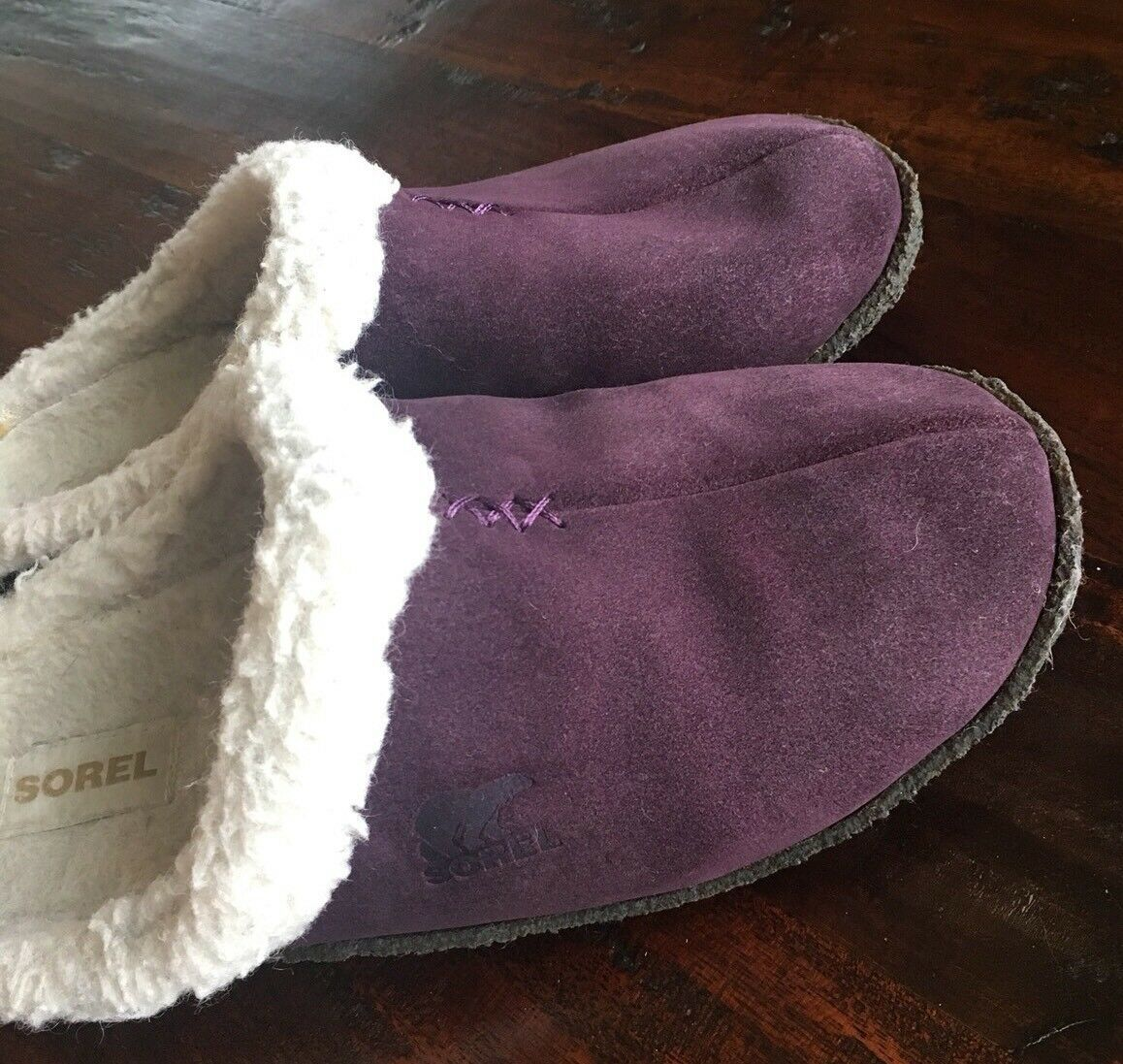 SOREL 9381 Womens Nakiska LILAC Purple Suede Clog Slippers Shoes 6 M #176 image 5