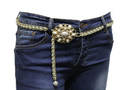 Skinny Band Belt Chic Women Gold Metal Chains Oval Green Blue Beads Buckle S M L - $15.67