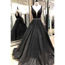 V Neck Floor Length Applique Open Back A Line Backless Bridal Gown image 7