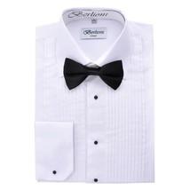 New Berlioni Italy Men's Premium Tuxedo Dress Shirt Laydown Collar Bow-Tie White