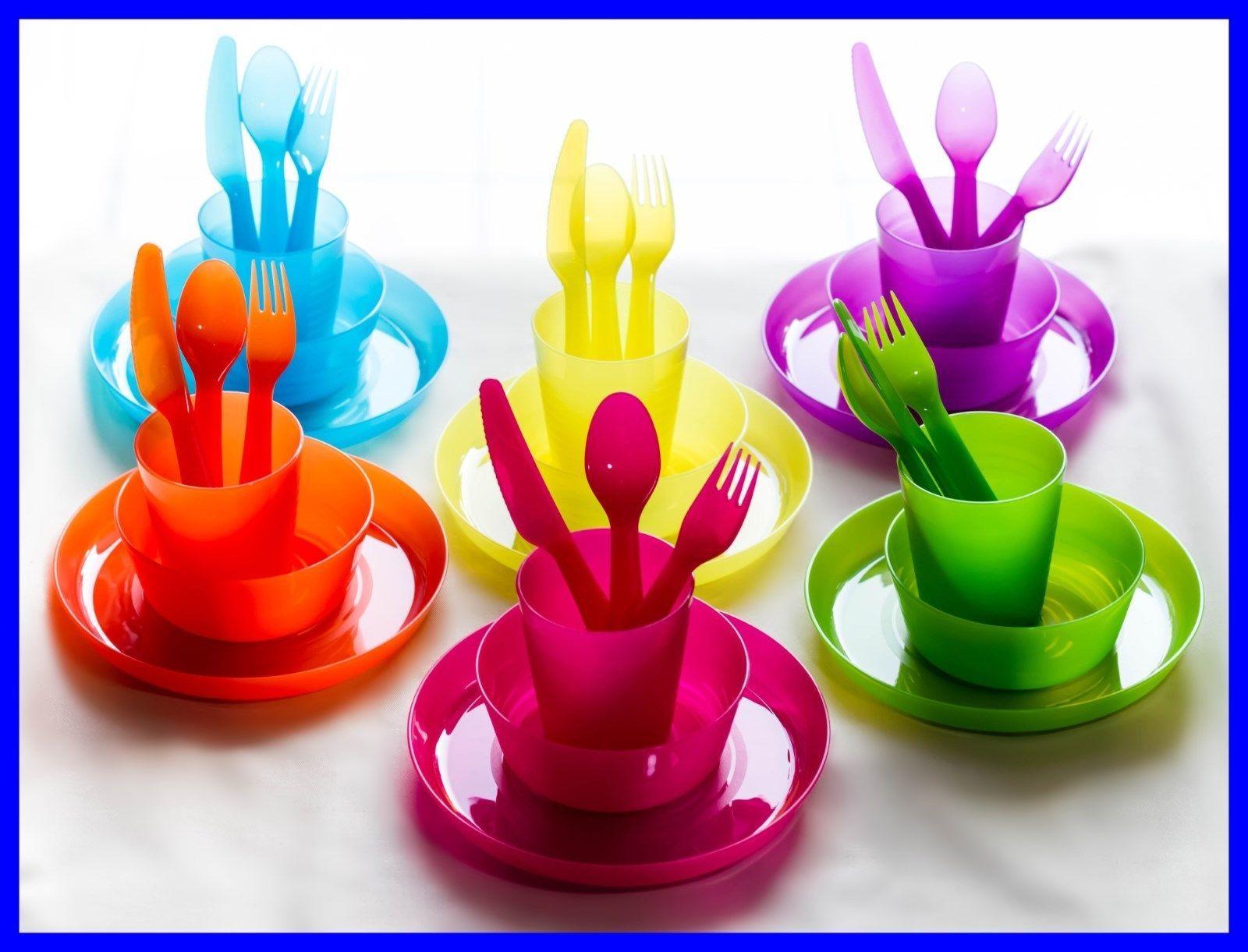 BPA Free NEW 1set PURPLE Unbreakable Reusable Dinnerware Utensils Kids Adults